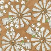 Love 4 Cotton - Large Windmills Medium Brown Yardage