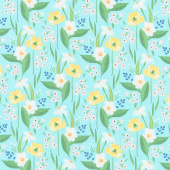 Cora - Happy Floral Aqua Yardage