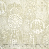 Heavenly - Angel Medallions Toile Natural Yardage
