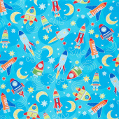 All Systems Glow - Space Voyage Turquoise Glow in the Dark Yardage