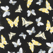 Limoncello - Butterflies Black Pearlized Yardage