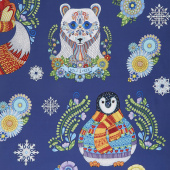 Arctic Wonderland - Large Animals Navy Yardage