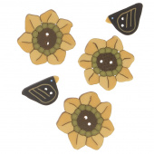 Wooly Trees Button Pack - September Sunflower