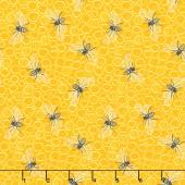 Sunny Bee - Bee and Comb Yellow Yardage
