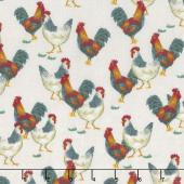 Sunflower Market - Chickens Cream Yardage