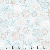 Coastal Wishes - Packed Seashells Blue Yardage