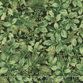 A Joyful Season - Holly Leaves Pine Metallic Yardage