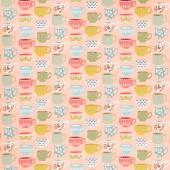 Tea with Bea - Tea Cups Tea Time Blush Yardage