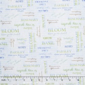 From the Garden - Word Toss Blue Yardage
