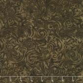 Chocolate and Creams Batiks - Scrolls Elk Yardage