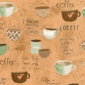 But First, Coffee! - Large Allover Coffee Yardage