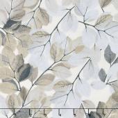 Essence of Pearl - Neutral Sheer Leaves Beige/Neutral Yardage