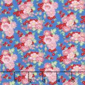 Amorette - Roses Blue/Pink Yardage