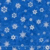 Artisan Batiks - Snowflakes 2 Snowflakes Royal Blue Metallic Yardage