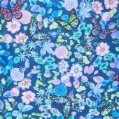 Forest Magic - Floral Blue Yardage