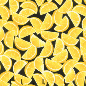 Lemon Fresh - Lemon Wedges Black Yardage