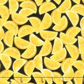Lemon Fresh - Lemon Wedges Black Yardage