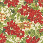 Cardinal Song Metallic - Poinsettia & Pine Cream Yardage
