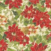 Cardinal Song Metallic - Poinsettia & Pine Cream Yardage