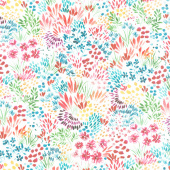 Moody Bloom - Meadow White Multi Digitally Printed Yardage