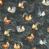 Farmer's Market - Roosters Toss Black Yardage