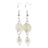 Vintage Button with Fresh Water Pearl Earrings