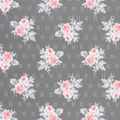 Colette - Small Rose Bouquets Dark Grey Yardage