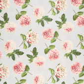 Le Bouquet - Roses and Peony Toss Medium Gray Yardage