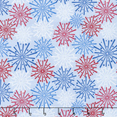 Patriotic Picnic - Fireworks Light Blue Yardage