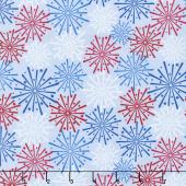 Patriotic Picnic - Fireworks Light Blue Yardage