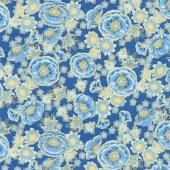 Florentine Garden - Flower Blue Metallic Yardage