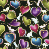 Cat - i - tude - Hearts and Cats Black Multi Yardage