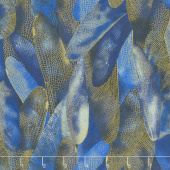 Dragonfly Dance - Blue Gilded Wings Navy Metallic Yardage