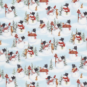 Snow Days - Snowmen and Animals Allover Blue Yardage