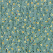 Sage & Sea Glass - Triangle Vines Blue Yardage