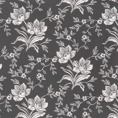 All Hallow's Eve - Woodblock Floral Midnight Yardage