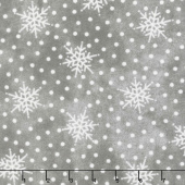 Most Wonderful Time Flannel - Falling Snow Gray Yardage