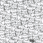 Cat Happy - Happy Cat Faces White Yardage