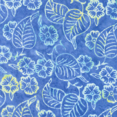 Tonga Batiks - Soleil Blue Flowers & Leaves Yardage