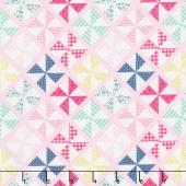 I'd Rather Be Glamping - Pinwheels Pink Yardage