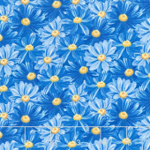 Madison - Packed Daisies Blue Yardage