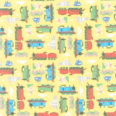 All Aboard with Thomas & Friends - Trains Sodor Yellow Yardage