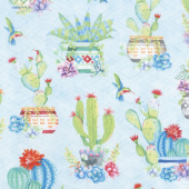 Humming Along - Potted Cactus Allover Blue Yardage