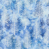Artisan Batiks - Northwoods 8 Trees Sky Metallic Yardage