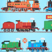 All Aboard with Thomas & Friends - Train Stripe Blue Yardage