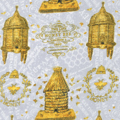 A Bee's Life - Beehive Allover Gray Yardage