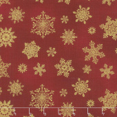 Cat-I-Tude Christmas - Playful Flakes Red Metallic Yardage