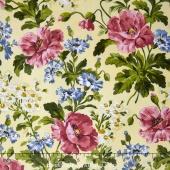 Poppies - Poppies Soft Yellow Yardage