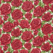 A Festival of Roses - Festive Roses Green Yardage