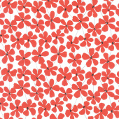 Red Alert - Floral Allover White Yardage